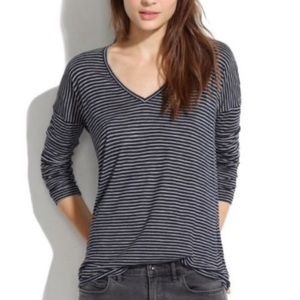 Madewell Gray and Black Striped Long Sleeve